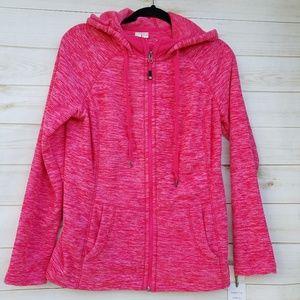 NEW Green Tea fleece full zip hoodie S coral